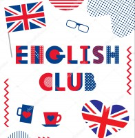 English Club. Trendy geometric font. Text, British flag, heart, cups, glasses, bow tie and geometric elements isolated on a white background. Memphis style of 80s-90s.